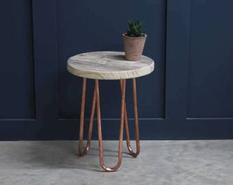 Stool with Copper Hairpin Legs and Reclaimed Wood Seat (Beauvais)