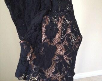 black lace bell bottom wide legged pants flares small medium lace legging 60s hippie flower girl grunge black music festival