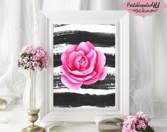Pink Floral Art Print, Floral printable, Floral print, Floral art print, Flower printable, Pink wall art, Pink wall decor, Pink flower print