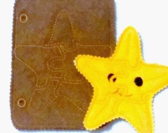 Felt quiet book - Toddler quiet book - Quiet book page - Toddler busy book - Busy book page - Felt busy book - Starfish puzzle page #QB814