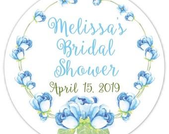 60 Wedding Shower Stickers, Floral Bridal Shower Labels, Stickers, Wedding Shower, Bridal Shower Favor, Light Blue Floral