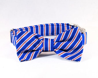 Preppy Red White and Blue Patriotic Stripes Bow Tie Dog Collar
