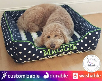Personalized Navy Blue & Green Medium Dog Bed | Polka Dot, Stripe, Mini Dot, Chartreuse | Design Your Own Dog Bed