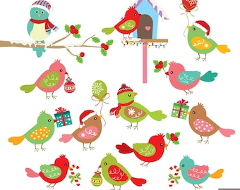 Christmas Birds Digital Clipart