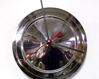 Chevy Vega Hubcap Clock 1971 - 1977 Chevrolet Vega Chrome Wall Clock - 1972 1973 1974 1975 1976 - SALE