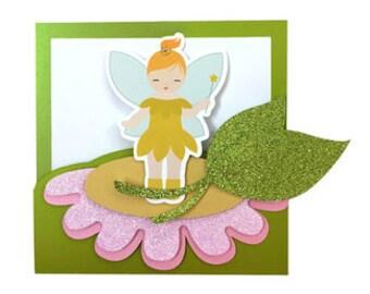Fairy Card , Blank inside , Sparkle , Glitter , Flower , Leaves , Wishes , Pixie , Girls , Papercut