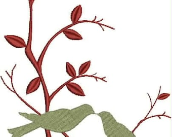 Love Birds on a Branch Embroidery Design