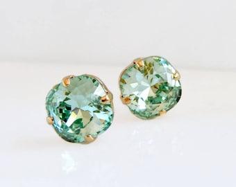 Mint green crystal earrings - mint green studs - green crystal studs - crystal studs - Swarovski crystal - green earrings