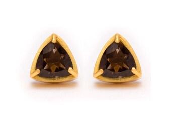 Trillion Cut Studs - Gold Stud Earrings - Smoky Quartz Studs - Gemstone Stud Earrings - Prong Set Studs with Bezel RIm