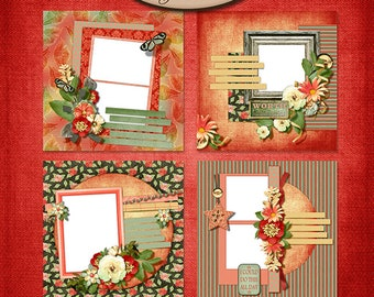 Digital Scrapbooking, Quick Page Set A 8x8 inch Layouts: Just Watch Me