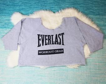 Vintage Everlast Cut Off Sweatshirt One Size Gray Oversized Workout USA Streetwear 1980s 1990s