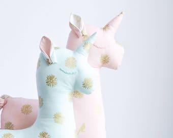 Unicorn Birthday Gift - Stuffed Toy Unicorn - Unicorn Toy - Gold Nursery Decor - Stuffed Toy Pillow - Unicorn Nursery - Unicorn Plush