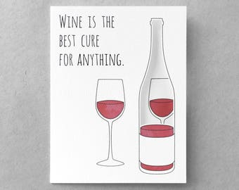 Funny sympathy card   Funny encouragement card Cheer up Wine card Friend card Sister card Best friend