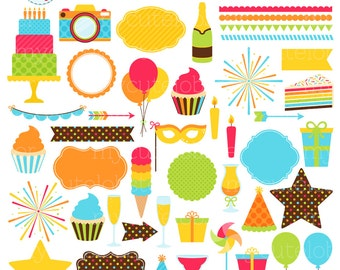 Celebration Clipart Set - digital elements - party, birthday, borders, frames - personal use, small commercial use, instant download