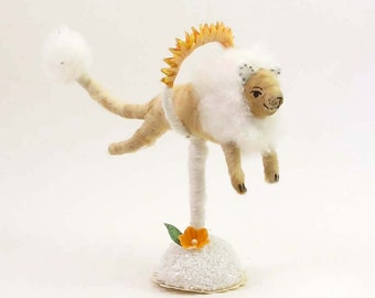 Vintage Inspired Spun Cotton Fire Jumping Lion Figure (MADE TO ORDER)
