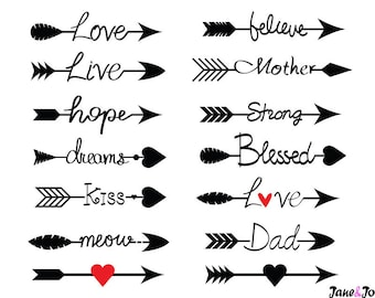 Arrow Words Svg,Arrows word svg,Arrow svg,Love arrow svg,Arrows with Words Svg,Heart arrows SVG,word arrow strength svg,love arrow,Dxf arrow