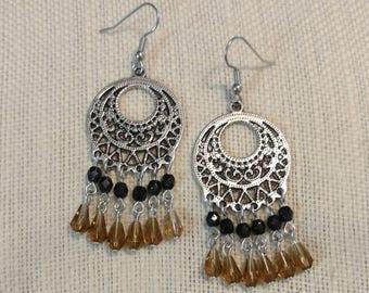 Gypsy Smokey Topaz & Black Glass Beaded Silver Chandelier Earrings