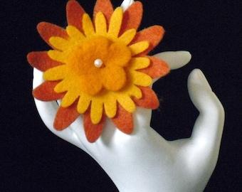 Sarah Jessica (Funky Felt Flowers Cocktail Ring)
