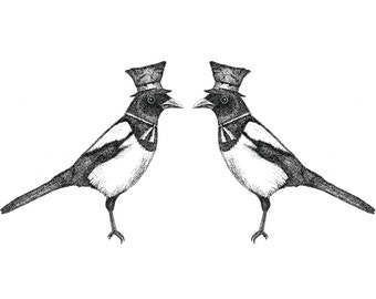 Two for Joy- A3 magpies art print by Jon Turner- pen and ink Victoriana birds artwork- FREE WORLDWIDE SHIPPING