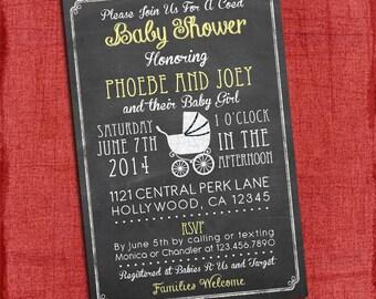 Printable Baby Girl Shower Chalkboard Invitation  - Coed Baby Shower Invite