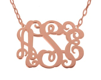 Sale Rose Gold Monogram 1 Inch Any Initial Silver Monogram Necklace Personalized Monogram 925 sterling silver Bridesmaid Gift