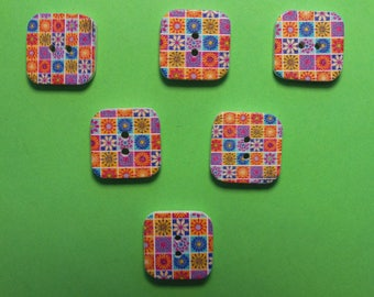 SET of 6 wood buttons: square flower 15mm (No. 08)