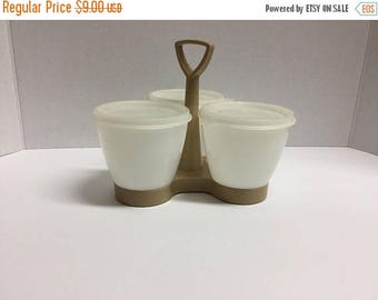 Sale Vintage Tupperware 3 Compartment Caddy with Lids Condiment Holder Relish Keeper