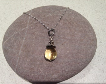 Citron - necklace with smooth drop lemon quartz with sterling silver detail