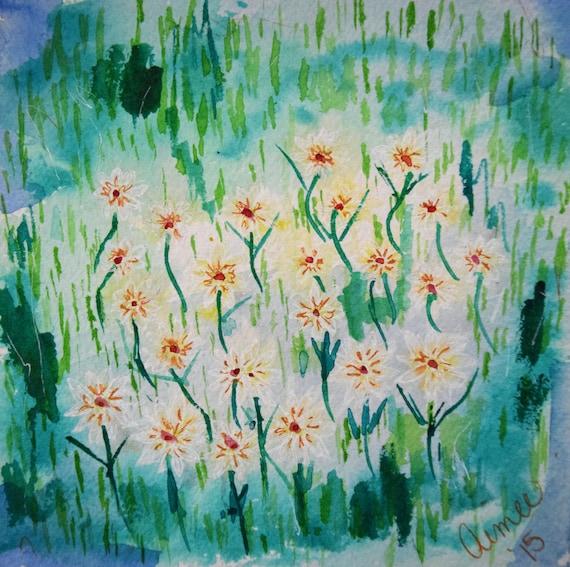 Painting, watercolor, Summer flowers