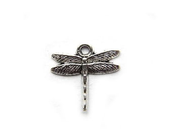 6 Small Silver Dragonfly Charms