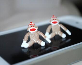 Sock Monkey Studs -- Sock Monkeys, Silver
