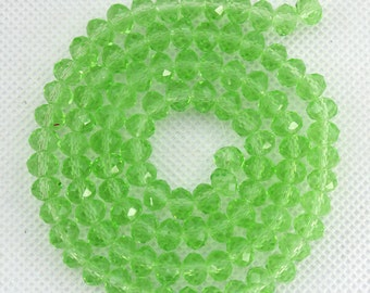 100 Pieces,Faceted Light Green Crystal Glass,Light Green Crystal Beads,One Full Strand,Crystal Beads,Gemstone Beads---6mm---17 inches--BR004