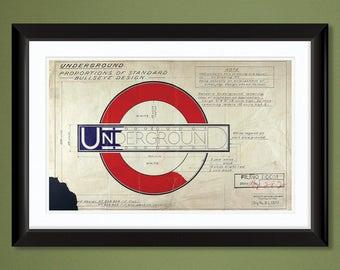 "London Underground Logo Design ""Roundel"" (1925) by Edward Johnston 18x12 Heavyweight Art Print"