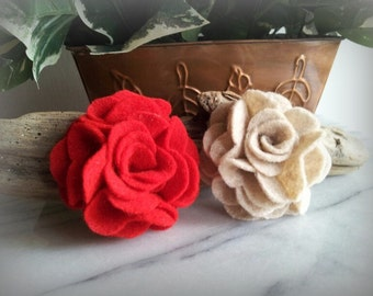 Felt Flower hair clip -choose 2 colors- Girls, child, childrens, toddlers, hair bow, clip, accessory