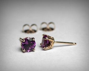 14K Amethyst Stud Earrings, AAA Natural Amethyst Earring Studs, 14K Yellow or White Gold Stud, Amethyst Jewelry February Birthstone Earrings