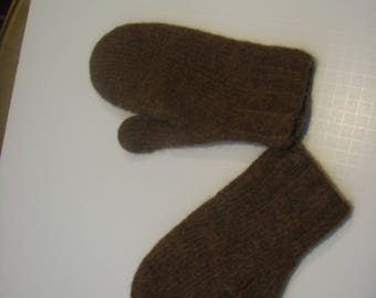 Hand knit and felted mittens