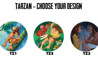 "TARZAN 2.25"" Button Style Pins, Mirrors, Magnets, Bottle Openers & Keychains"
