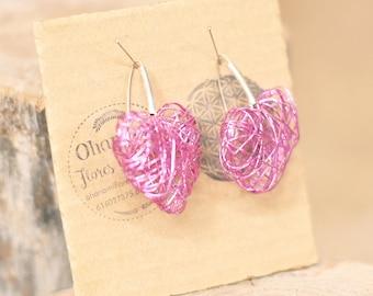 Hearts Pink Metal Earrings