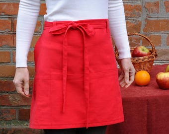 Cafe apron Half apron with pockets Cooking Apron Kitchen Apron Hostess aprons Womens Aprons Chef Gift Red Apron Baking gift idea Waist apron