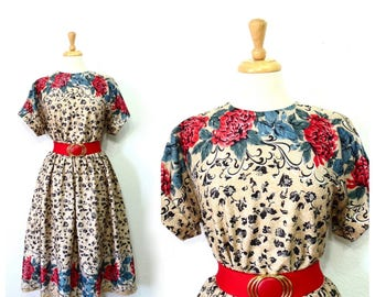 Vintage 80s Dress Floral Border Print Full Pleated Skirt Party Summer dress Size 12