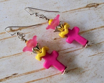 Pink and Yellow Flower and Cross Earrings (4390)