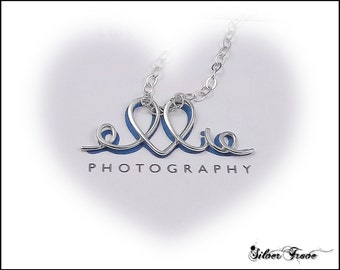 Logo Pendant or Necklace Calligraphy Script Heavy Sterling Silver Custom Made With Chain Cursive Logo by SilverTrove
