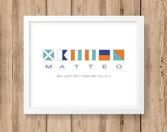 Birth Announcement Nautical Code Signal Flag Personalized Name 8x10, 11x14 or 16x20 Print