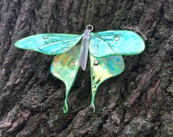 Made to Order, Crystal Luna Moth, Shimmery Wings, Butterfly, Luna Moth Ornament, Sun Catcher, Quartz Point, Swarovski Crystals