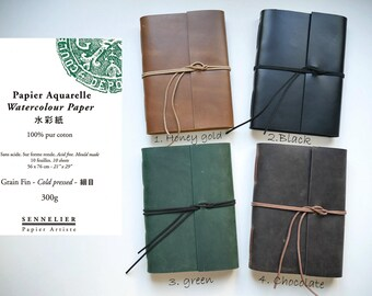 Leather cover watercolor sketchbook journal sennelier cotton paper