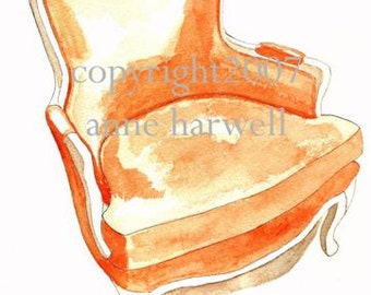 ORANGE BERGERE CHAIR Print