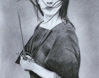 Arya Stark A4 print of original graphite drawing