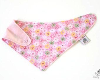 Baby bib bandana flowers, baby girl dribble bib, baby bib flowers, baby girl bandana, stay dry bandana, pink bandana for age 3-24 months