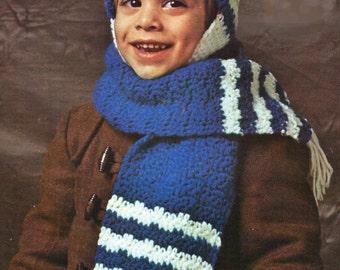 Crochet Pattern, Crochet Toddler Hat Pattern, Crochet Scarf Pattern and Mittens Pattern, INSTANT Download Pattern PDF (1504)