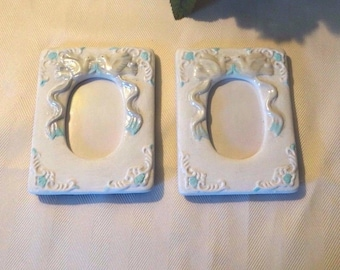 Two small white frames, wedding doves, baby pictures, desktop, Repainted, blue trim, no glass, 3 x 2 photo, 2 pictures